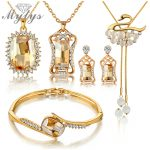 Mytys 5PCS <b>Jewelry</b> Set High Quality Crystal Earring Necklace Bracelet Bridal Wedding Sets <b>Accessories</b> N406