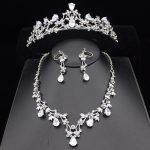 Fashion Luxurious Zirconia Wedding Bridal <b>Jewelry</b> Sets Wedding Bridal <b>Jewelry</b> <b>Accessories</b> Silver Tiara Bride Necklace Earring