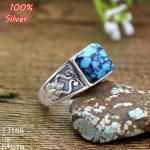 100% Sterling Silver 925 <b>Jewelry</b> 8*8mm Adjustable Ring Blank For Man Tray Setting Square Stone <b>Antique</b> Silver Classical
