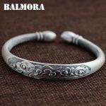BALMORA 999 Pure Silver Buddhistic Sutra Open Bangles for Women Men Gift about 18cm Bracelet <b>Jewelry</b> Pulsera <b>Accessories</b> SZ0226