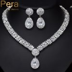 Pera Luxury Noble Bridal Wedding <b>Accessories</b> <b>Jewelry</b> Big Clear White Stone Pear Drop Necklace And Earrings For Bridesmaid J059