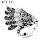 KCALOE Animal Ring Fashion Bird Natural Opal Stone Crystal Cubic Zirconia <b>Antique</b> Silver Color Women Rings Vintage <b>Jewelry</b>