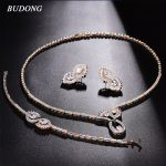 BUDONG Sparkling Infinity Bridal <b>Jewelry</b> Sets Wedding Necklace Earrings Bracelet For Brides Engagement <b>Accessories</b> Women XUT801
