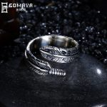 GOMAYA <b>Antique</b> Retro Vintage Rings Feather Leaf Fine <b>Jewelry</b> Gift for Women Accessories 925 Sterling Silver Anel Classic Anillo