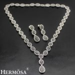 HERMOSA <b>jewelry</b> New Wedding <b>accessories</b> Fashion 925 Sterling Silver Black oval Necklace Earrings set ST94
