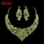 Fashion Green Rhinestone Indian Wedding Bridal <b>jewelry</b> <b>Accessories</b> women Party <b>Jewelry</b> Set For Brides Necklace Earring Sets