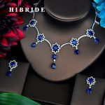 HIBRIDE Blue AAA Cubic Zirconia <b>Jewelry</b> Sets For Women Fashion Necklace Set Wedding Dress <b>Accessories</b> Wholesale Price N-446