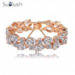 Suplush Bracelets & Bangles Multicolor AAA Cubic Zircon Charms Bracelet Gold Women's Bracelet Fashion <b>Jewelry</b> <b>Accessories</b>