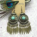 Original folk style <b>jewelry</b> style earrings with Turquoise fringed large Miao Silver Earrings