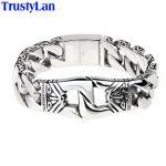 TrustyLan Vintage 21MM Wide Bracelets Bangles Stainless Steel Chain Bracelet Men Punk <b>Jewelry</b> <b>Accessories</b> Armband Dropshipping