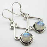 Chanti International Silver Real ROUND RAINBOW MOONSTONE Earrings <b>ANTIQUE</b> LOOK <b>Jewelry</b>