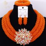 Luxury Orange Statement Necklace Set 3 Layers High Quality Indian <b>Jewelry</b> <b>Accessories</b> Antique <b>Jewelry</b> Sets For Girl Vintage Gift