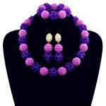 Fashion Purple Women Stylish Crystal Beads <b>Jewelry</b> <b>Accessories</b> Nigerian wedding african beads <b>jewelry</b> set ABD011