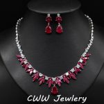 Beautiful Red and White Zirconia Big Wedding <b>Accessories</b> Necklace Earrings Bride <b>Jewelry</b> Sets For Brides Evening Party T106