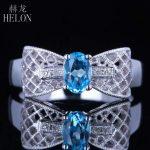 HELON Fine Blue Topaz Oval 6x4mm Solid 14K (585) White Gold Pave SI/H Diamond Wedding Ring <b>Art</b> <b>Deco</b> Fine <b>Jewelry</b> Engagement Ring
