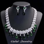 Dazzling Disperse Cubic Zirconia Big Wedding Necklace Earrings Sets Luxury Green Crystal Bridal <b>Jewelry</b> <b>Accessories</b> T126
