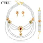 Cweel Women New <b>Jewelry</b> Sets Gold Color For Wedding Dress <b>Accessories</b> Beads Fashion Pendant Necklace Earring Ring Bracelet