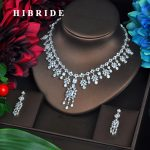 HIBRIDE Luxury Sparkling Cubic Zircon <b>Jewelry</b> Sets Tassel Necklace Sets For Women Dress <b>Accessories</b> Gifts Wholesale Price N-564