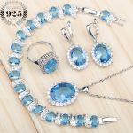 Wedding <b>Jewelry</b> Sets For Women <b>Accessories</b> Blue Zirconia Stone Earrings Rings Pendant Necklace Bracelets Jewellery Gift Box