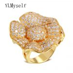 Big flower luxury spectacular rings for women exaggerated finger ring micro setting aaa zircon <b>jewelry</b> Fashion <b>accessories</b>