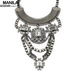 Sexy Chunky Statement Necklace <b>Jewelry</b> Multilayer Chain Alloy <b>Antique</b> Choker Rhinestones Necklace Pendant CE4199