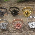 100pc 16*5mm Flower Pad ring blank Cameo Tray,<b>Antique</b> Bronze/Gold/Silver Ring setting,Handmade DIY Zakka <b>jewelry</b> Finding