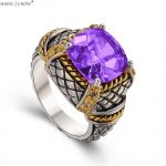 925 Sterling Silver Ring, 2017 Vintage <b>Jewelry</b> With Purple Quartz Stone for men BALL GOWN <b>Accessories</b> Birthday Gift R1493
