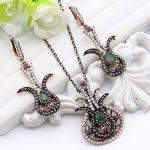 Vintage Turkish Women Tulip Flower Fish <b>Jewelry</b> <b>Antique</b> Thin Chain Gold Color Resin Rhinestone Necklace Nigeria Bridal Party
