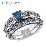 MOONROCY <b>Jewelry</b> Wholesale <b>Antique</b> Silver Color Cubic Zirconia Vintage Blue Crystal Wedding Rings for Women Drop Shipping