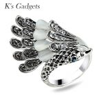 K's Gadgets Fashion Bird Animal Ring <b>Antique</b> Silver Color Natural Opal Stone Crystal Cubic Zirconia Women Rings Vintage <b>Jewelry</b>