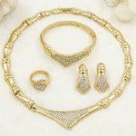 Sales CZ Dubai Fashion Charm Women Gold Necklace Luxury Crystal Design <b>Jewelry</b> Italian Bride Wedding <b>Accessories</b> / Free Shipping