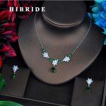 HIBRIDE Famous Design Brilliant AAA Green Cubic Zircon Wedding Women Bridal <b>Jewelry</b> Sets Necklace Sets Dress <b>Accessories</b> N-534