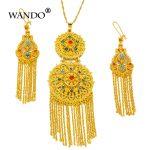 WANDO India Bridal <b>jewelry</b> sets for women Necklace earrings pendant Gold-color Wedding garment <b>accessories</b> Ethiopian JewelryWS53