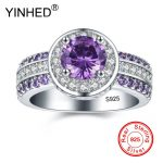 YINHED Real 925 Sterling Silver Ring Purple CZ Zircon Halo Rng Round Rings for Women Wedding <b>Jewelry</b> Fashion <b>Accessories</b> ZR897