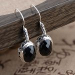 Deer King Silver Earrings <b>Jewelry</b> S925 silver inlaid <b>antique</b> craft new Black Onyx Earrings