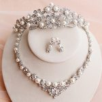 New Hot Quality Handmade Simulated Pearl Necklace Hair Crown With Earrings Wedding <b>Jewelry</b> Set <b>Accessories</b>