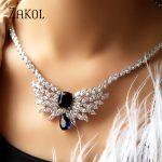 ZAKOL Luxury Sparking Cubic Zircon Wings Earrings Necklace Heavy Dinner <b>Jewelry</b> Set Wedding Bridal Dress <b>Accessories</b> FSSP391