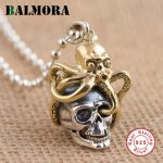 BALMORA New Solid 925 Sterling Silver Skull & Octopus Pendants for Women Men Vintage Skeleton Silver <b>Jewelry</b> <b>Accessories</b> SY13206