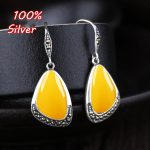 925 pure <b>Antique</b> Silver Vintage Hook Earrings For Women Empty Blank With a Turquoise Amber Earrings Blank With 11*17mm