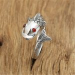 Genuine 925 Sterling Silver Thai Handmade Vivid Carp Fish Animal Ring Women Big Retro <b>Antique</b> Rings <b>Jewelry</b> 2018