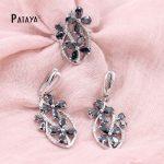 PATAYA Women True White Gold <b>Jewelry</b> Set Colorful Flower Natural Zirconia Ring Earrings Wedding <b>Accessories</b> Cristal Fine <b>Jewelry</b>