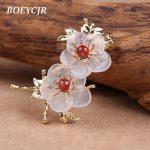 BOEYCJR Ethnic Natural Stone Flower Brooch Fashion <b>Jewelry</b> High Quality Handmade Brooches for Women Dress Scarf <b>Accessories</b> 2018