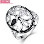 Jrose <b>Antique</b> Fleur De Lis Design Black & White CZ <b>Jewelry</b> Rings 100% 925 Solid Silver Unisex Ring For Women Men Gift