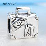 Original Authentic S925 Sterling Silver Bead <b>Antique</b> Paris Suitcase Handbag Charm Fit Pandora Bracelet Bangle DIY Charms <b>Jewelry</b>