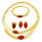 Fashion Italian Women 24 Gold <b>Jewelry</b> Sets Red Crystal Necklace Ring Bracelet for Women Luxury Wedding <b>Jewelry</b> <b>Accessories</b>