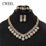 CWEEL <b>Jewelry</b> Set For Wedding Women Nigerian Beads Necklace Party Fashion <b>Accessories</b> Gold Color Imitation Crystal Jewellery