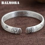 BALMORA 999 Pure Silver Flower & Butterfly Open Bangles for Women Mother Gift about 18cm Bracelet <b>Jewelry</b> <b>Accessories</b> SZ0214