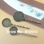 Wholesale 200pcs/lot Copper <b>Antique</b> Bronze 18MM/20MM/25MM Cameo Base Hair Pin clips with Pad <b>Jewelry</b> Findings Accessories