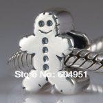 1PCS/lot <b>Antique</b> 925 Sterling Silver Largehole <b>Jewelry</b> Gingerbread Man Charm fit European Troll Beads <b>Jewelry</b>