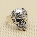 Punk Pirate Skull Solid 925 Sterling Silver Cuff Ring Men 24mm Wide Band Large Size Handmade <b>Antique</b> Silver 925 <b>Jewelry</b> Men,gift